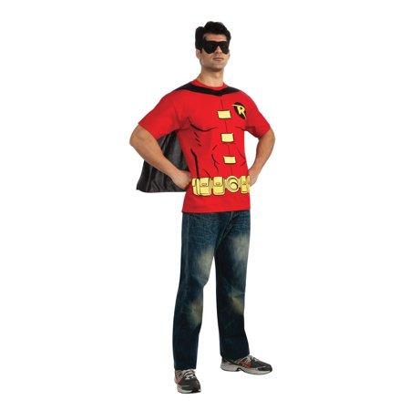 Batman Men's Robin Shirt & Eye Mask Costume Set Adult for $<!---->