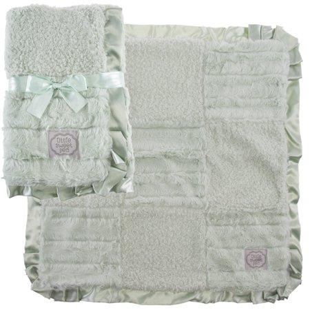 Green Security Blanket (Kathy Ireland 2 Pack Patchwork Baby Blankets Soft Security Lovey Blankie Satin Trim)
