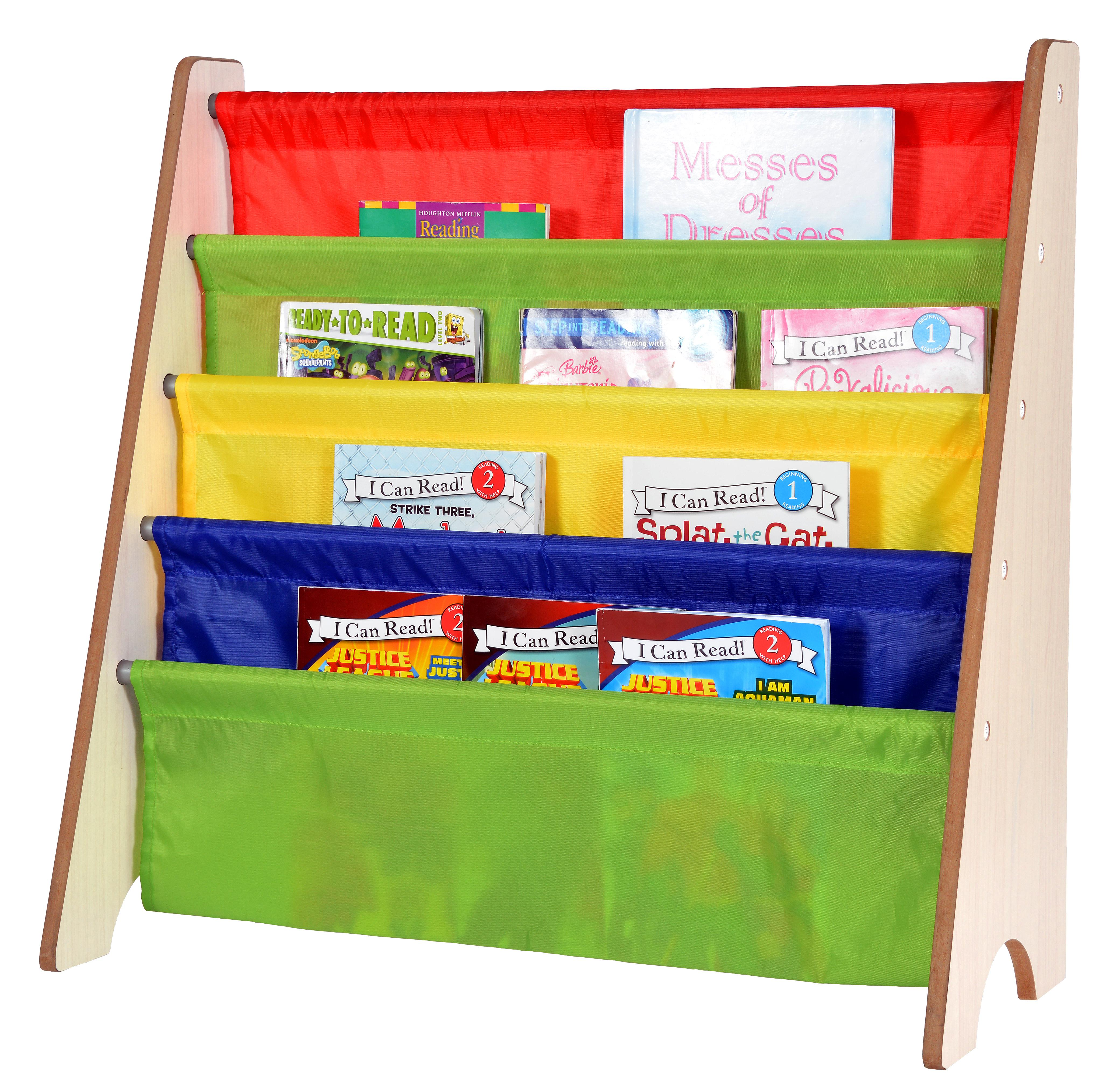 Naomi Kids Toy Sling Bookrack-Fabric Color:Primary Colors,Finish:Natural