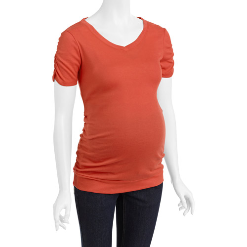 Inspire Maternity V-Neck Tee with Banded Bottom
