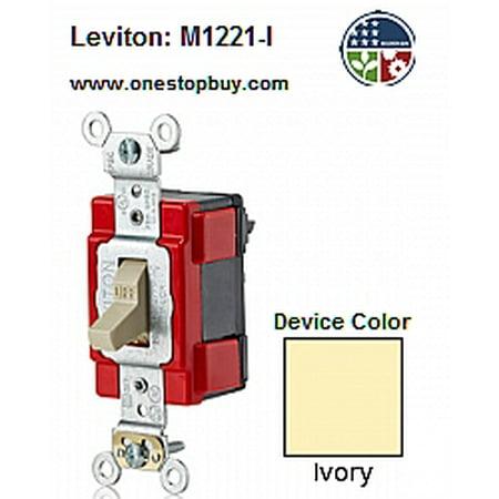 Leviton M1221-I Lev-Lok 20A Toggle Switch Heavy Duty - Ivory