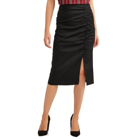 Vader Side Skirts - L.N.V. Women's Side Ruched Midi Skirt