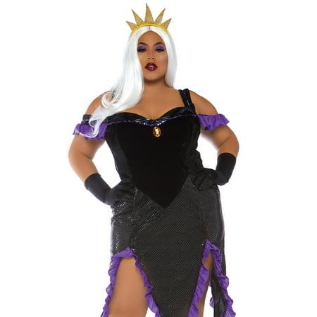 Leg Avenue Women's Plus Size Sultry Sea Witch Costume, 1X-2X, Black/Purple