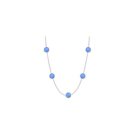 Diamonds The Yard Blue Diffuse Sapphires Necklace on 14K White Gold Bezel Set 2.00 ct.tw