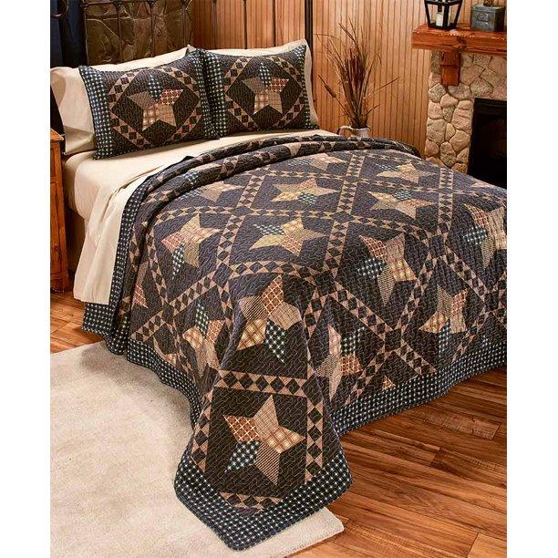 3 Pc Primitive King Quilt Set, Primitive Quilt Bedding