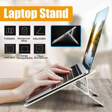 [Aluminum Alloy, 6-gear Adjustment] Portable Desk Laptop Notebook Stand Holder Hollow Heat Dissipation for Office Home Travel Laptop Notebook Holder