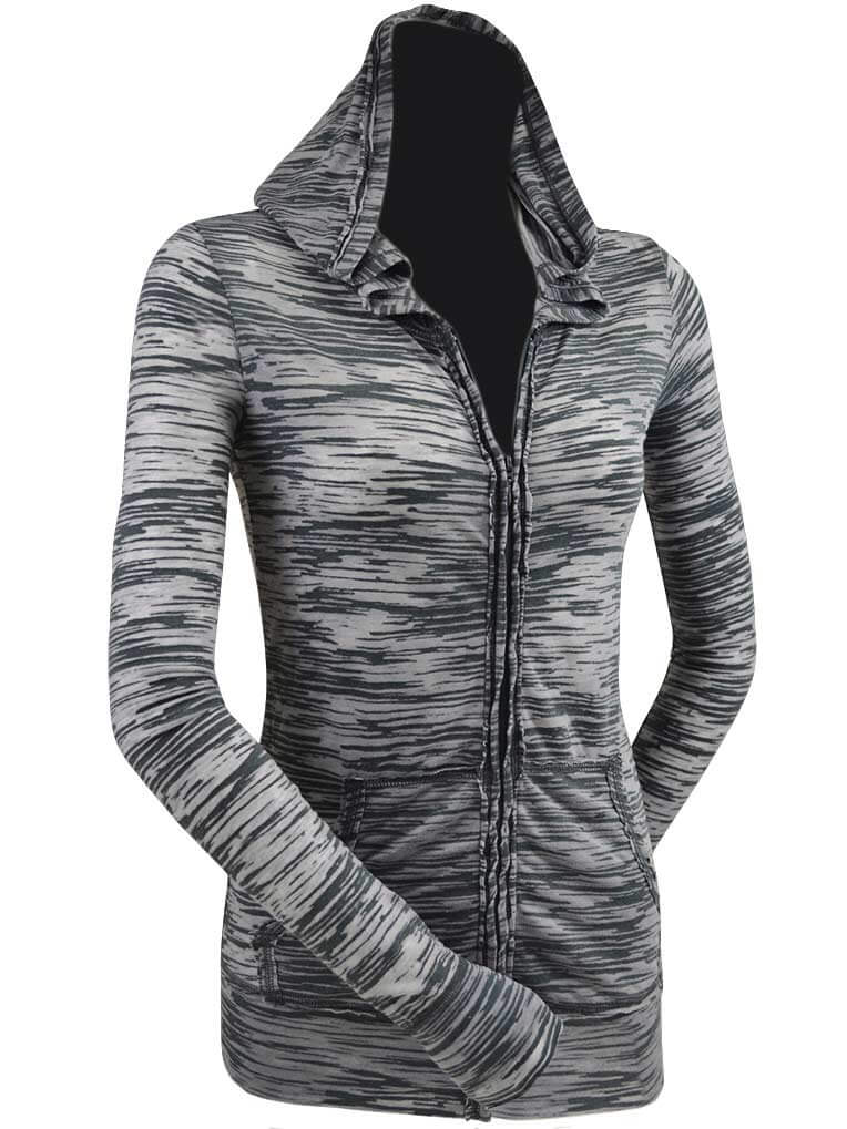 Kavio! Junior Camouflage Striped Burnout Raw Edge Long Sleeve Zip Hoodie Charcoal/Silver L