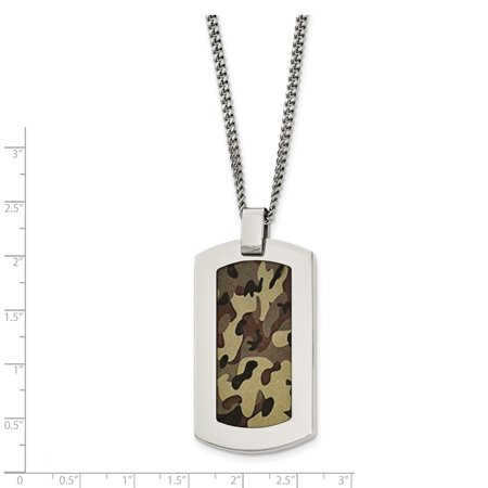 Stainless Steel Polished Printed Brown Camo Under Rubber Necklace 22in - image 1 de 3