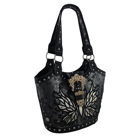 Studded Butterfly Floral Buckle Metallic Finish Concealed Carry Handbag