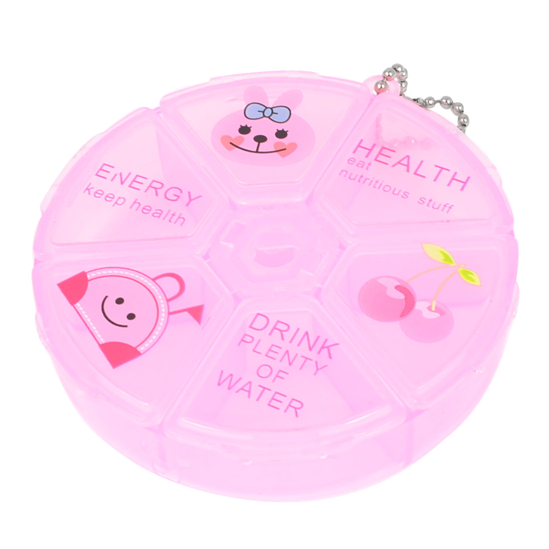 Household Portable Clear Pink 3 Section Round  Storage Box Holder