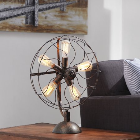 Decmode - 24 Inch Eclectic Iron Radial Fan Light With Five Led Bulbs