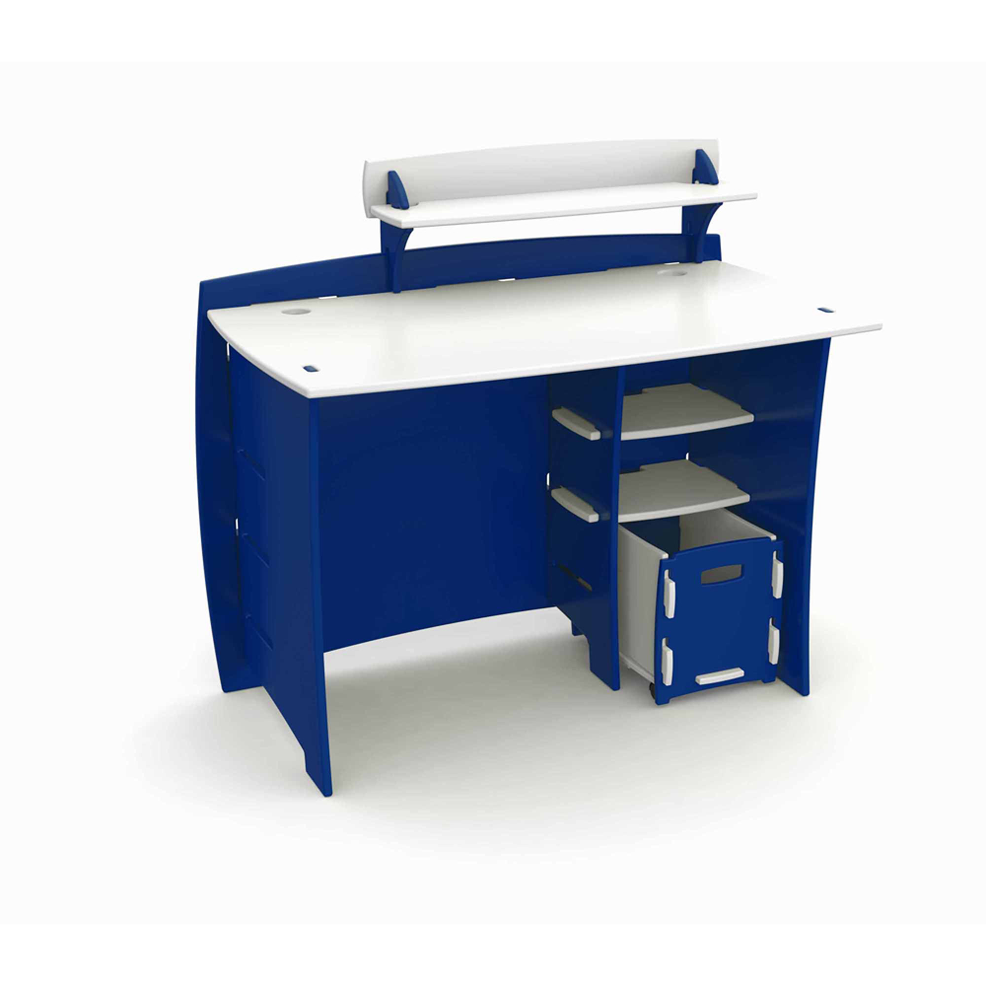 Legaré Kids Furniture Race Car Series Collection, No Tools Assembly 43 Inch  Complete Desk System With File Cart, Blue And White   Walmart.com