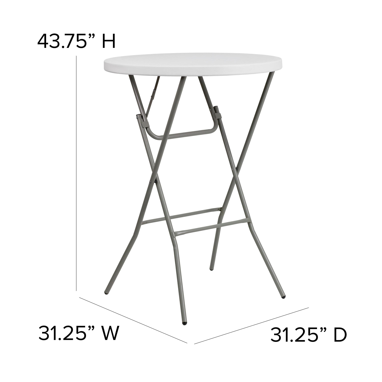 Flash Furniture 2 6 Foot Round Granite White Plastic Bar Height Folding Table Walmart Com