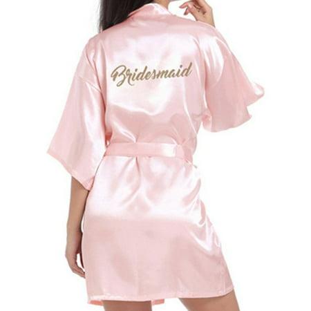 Women Sexy Satin Silk Bridesmaid Wedding Robe Sleepwear Home Bathrobe Pajamas - Personalized Wedding Robes