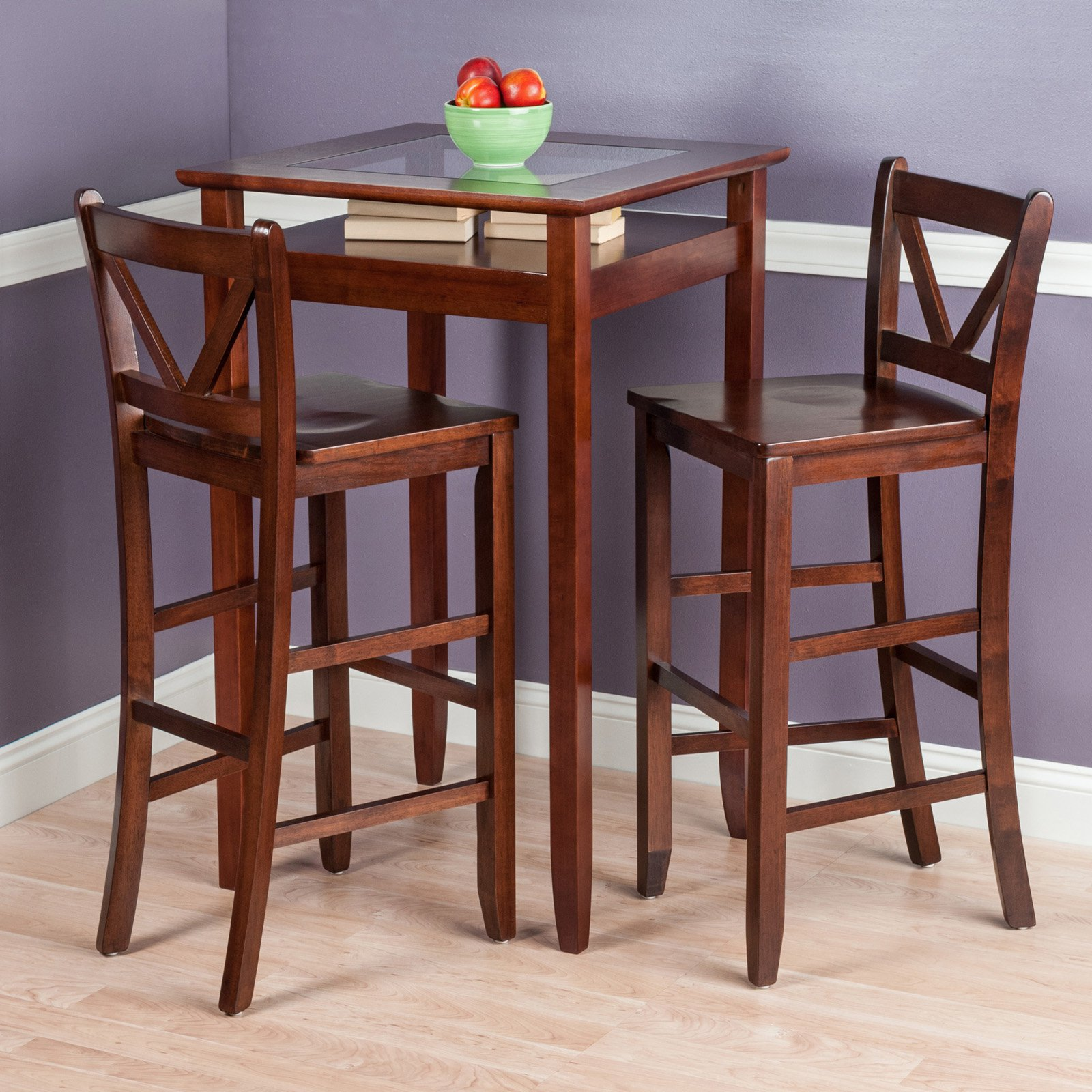 Halo 3pc Pub Table Set with 2 V-Back Stools by Winsome Wood