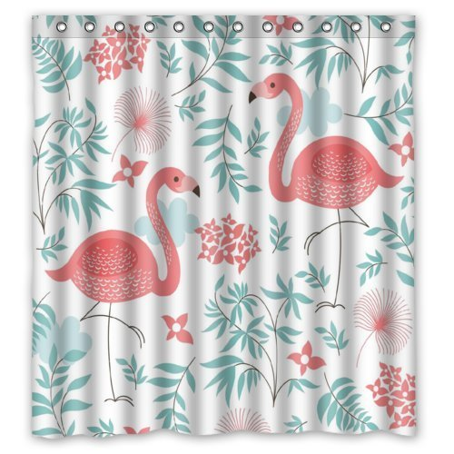 GreenDecor Flamingo Waterproof Shower Curtain Set with Hooks Bathroom Accessories Size 66x72 inches