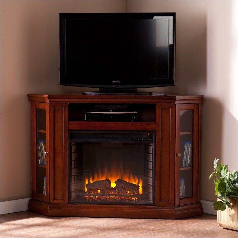 Silverado  Fireplace Media Console, Mahogany - Box 1 of 2
