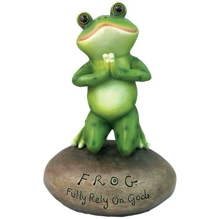 Inspirational Cute Praying Frog On Rock Statue By DWK | Novelty Collectible Frog Figurine - Inspirational Rocks