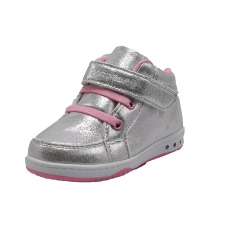 Dream Seek Girls Toddler 9303 Hook n Loop Lace Free Casual Sneakers Shoe- (5 M US Toddler, Silver Pink) ()