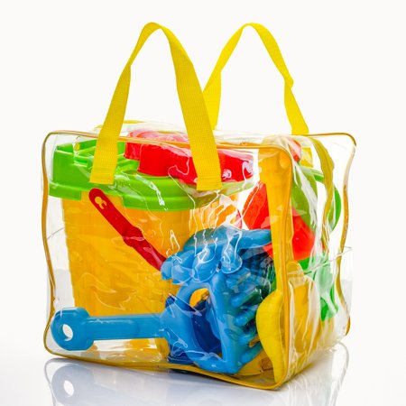 Beach Toys Bucket And Shovel Set - 8 Piece In Zipper Bag With Handle Clear Re-Usable Bag Fun Play Set For Kids Castle And Animal Molds Easy - Beach Pails