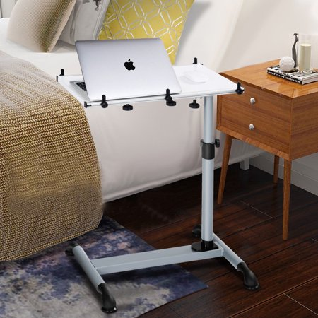 Mobile Laptop Stand Desk Sofa Side Table Height Adjule W Casters White Image 7