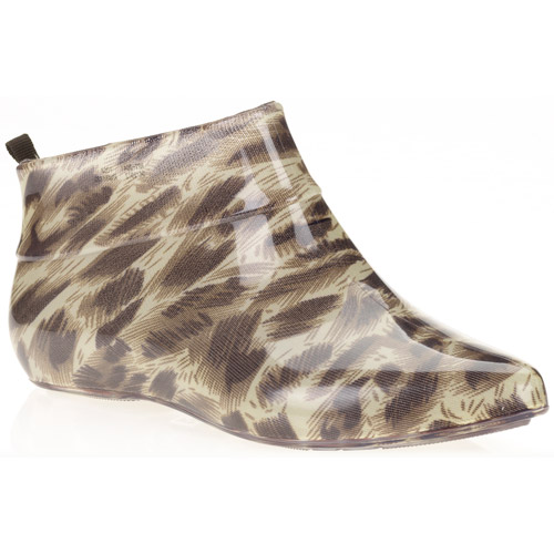 Women's Shiny Solid Leopard Jelly Booties
