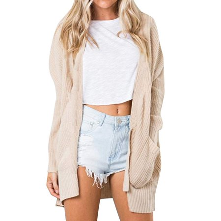Women Casual Solid Color Knitted Cardigan Long Sleeve Open Front Coat with Pocket - Novelty Knit Jacket
