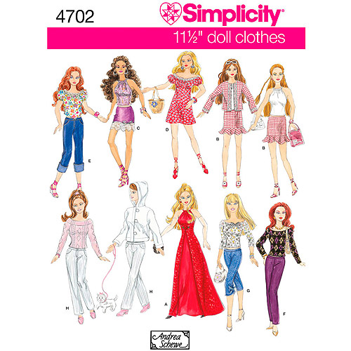 "Simplicity Pattern 11.5"" Fashion Doll Clothes, One Size"