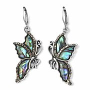 Stainless Steel Silvertone Hematite Color Lever Back Earrings in Abalone Shell Black Crystal Butterfly Dangle Lever Back Earrings Jewelry for Women