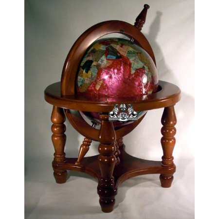 Unique Art 18-Inch by 9-Inch Pink Pearl Swirl Ocean Gemstone World Globe with 4-Leg Mahogany Finish Wood Frame