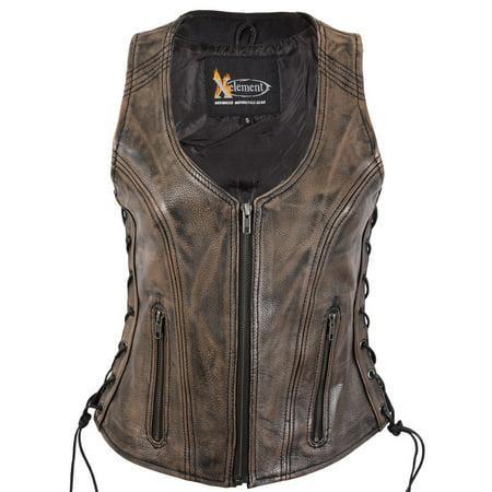 Clean Side Lace Vest (Xelement XS3900 Ladies Distress Brown Leather Vest with Side Adjustable Laces a )