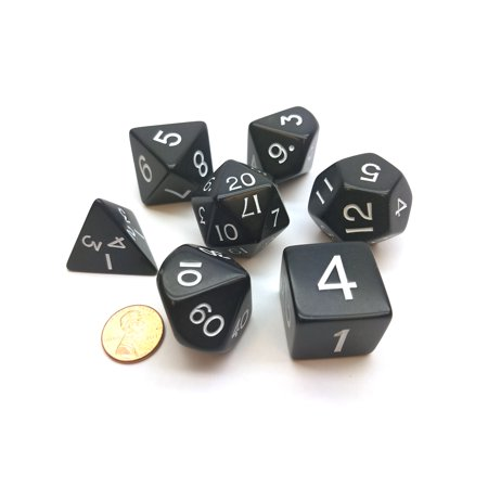 Koplow Games Jumbo Polyhedral 7-Die Games Dice Set 23mm-28mm- Black with White Numbers #05855