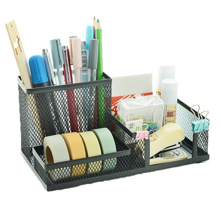 Office Desk Organizer - Pro Space Multifunctional Pencil Holder for Desk Organizer Mesh Office Sticky Note Business Card Holder,3-Scetion,Black