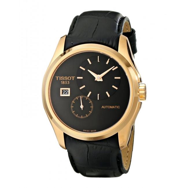 Tissot Couturier Black Dial Black Leather Mens Watch T0354283605100