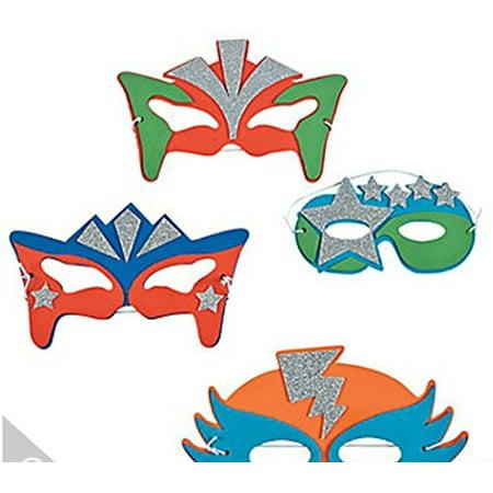 Superhero Foam Masks (Foam Superhero Masks, 12 Sparkly Masks for Costumes, Party Favors, 12 Superhero mask By Fun)