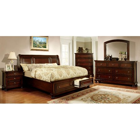 Gorgeous Traditional Look Bedroom Furniture Curved Headboard Storage Platform FB Eastern King Size Bed Dresser Mirror Nightstand w/USB Outlet & Hidden Drawers 4pc Set Solid Wood