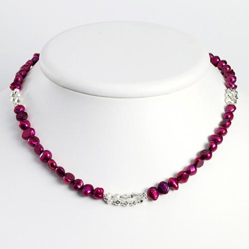 Sterling Silver Magenta Freshwater Cultured Pearl Necklace. 16in long.