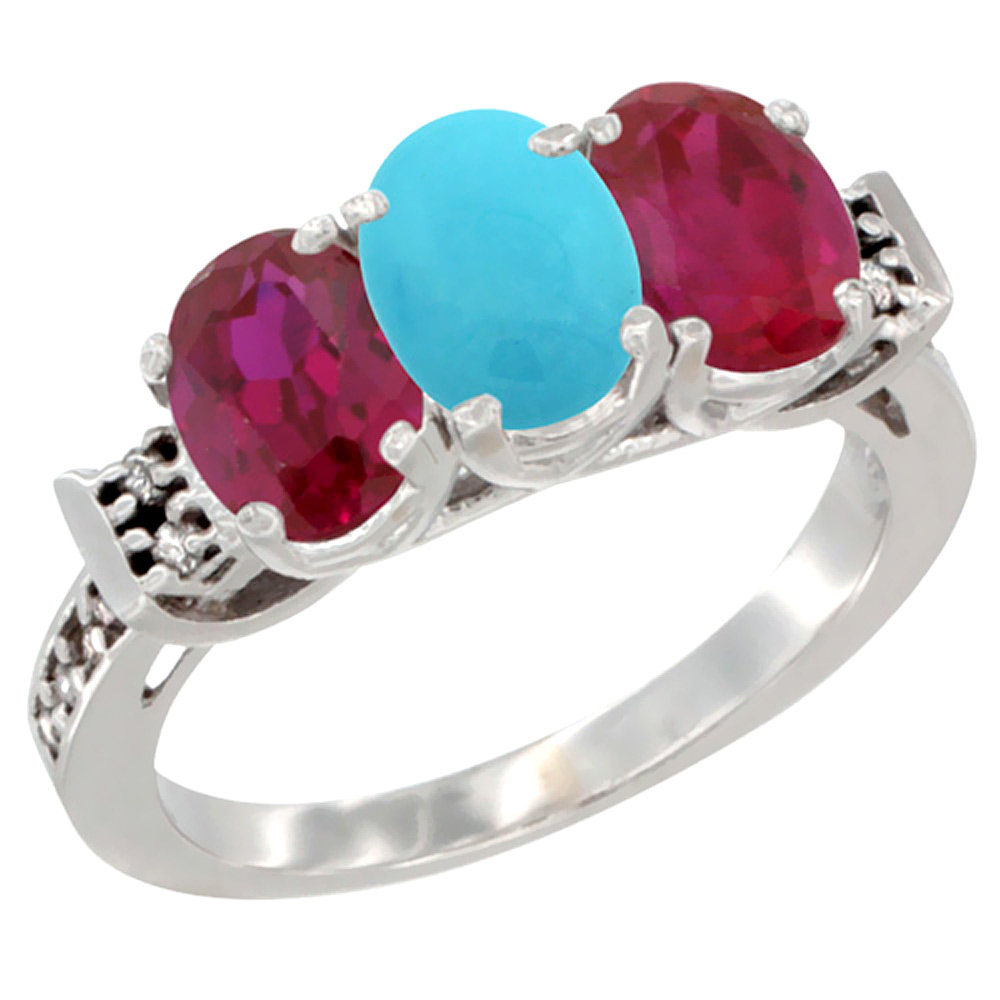 10K White Gold Natural Turquoise & Enhanced Ruby Sides Ring 3-Stone Oval 7x5 mm Diamond Accent, sizes 5 10 by WorldJewels