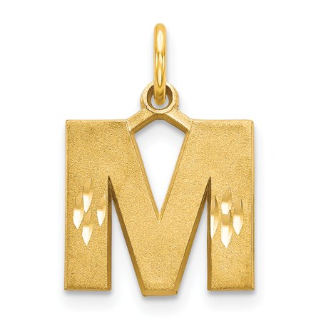 14k Yellow Gold Initial Monogram Name Letter M Pendant Charm Necklace Fine Jewelry Gifts For Women For Her - image 1 of 3