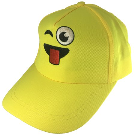 Adults Winking With Tongue Emoticon Emoji Baseball Hat Costume Accessory