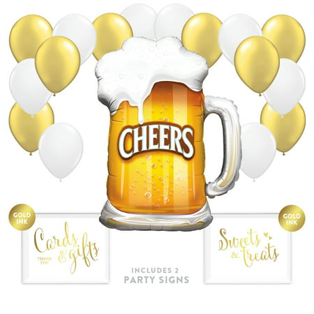 Balloon Party Décor Kit With Signs, Birthday Retirement, Cheers Beer Mug (Retirement Balloons)