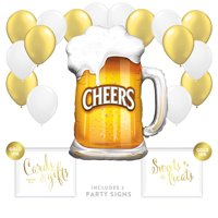 Balloon Party Décor Kit With Signs, Birthday Retirement, Cheers Beer Mug