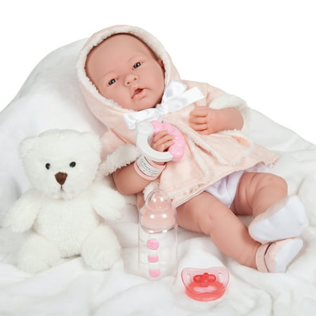 "JC Toys La Newborn All-Vinyl-Anatomically Correct Real Girl 15"" Baby Doll in Pink Coat Set and Deluxe Accessories, Designed by Berenguer."