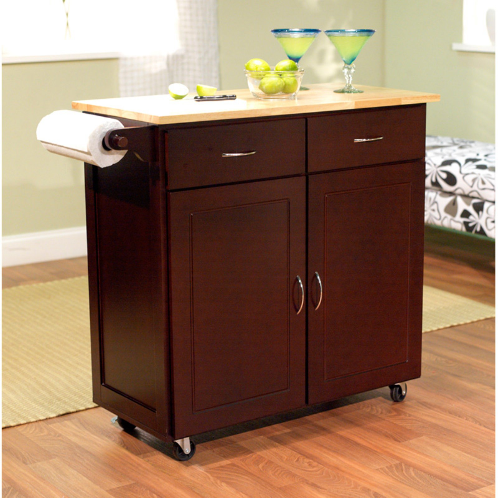 Kitchen Cart with Rubberwood Top Multiple Finishes