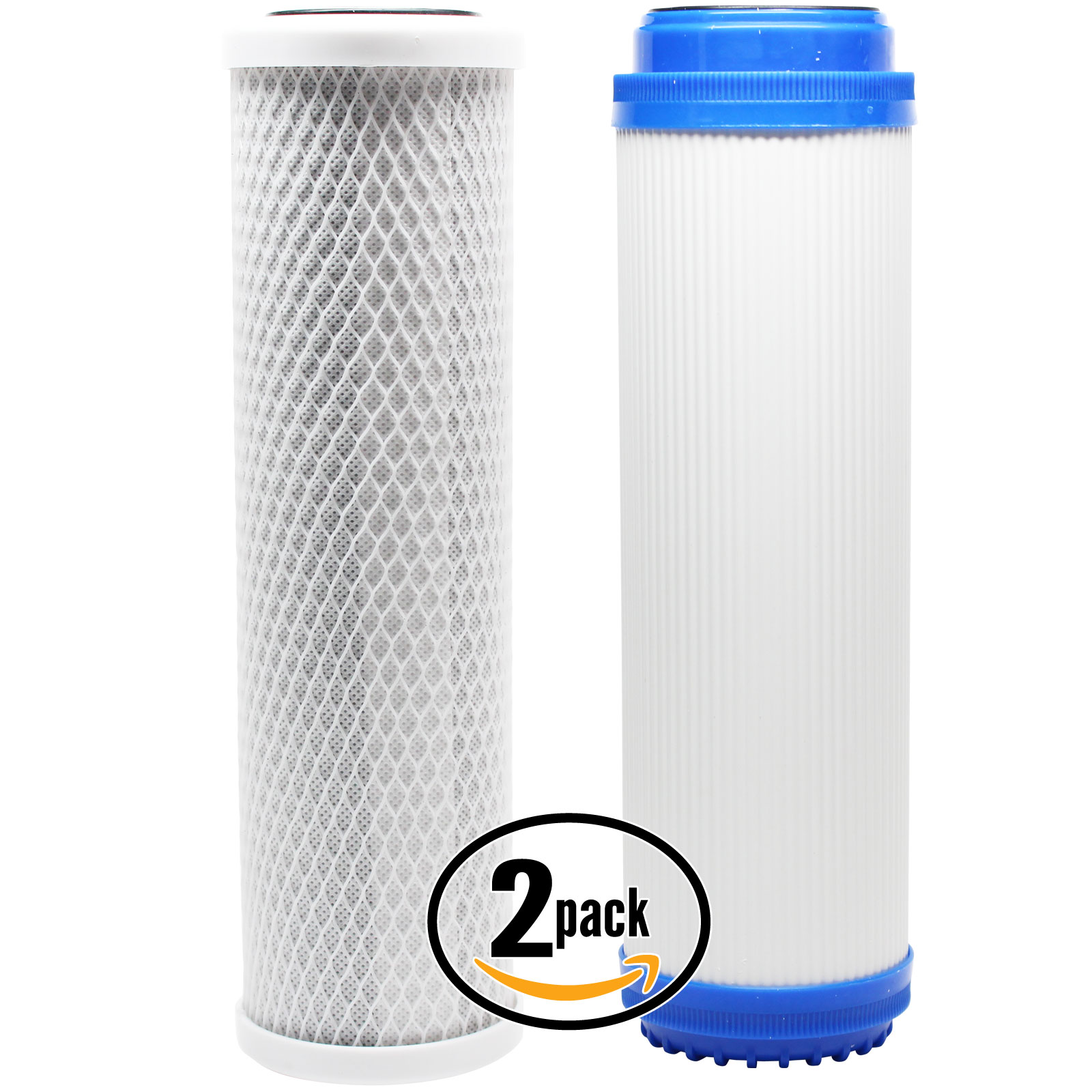 2-Pack Replacement Filter Kit for American Plumber WTOS-100 RO System - Includes Carbon Block Filter & Granular Activated Carbon Filter - Denali Pure Brand
