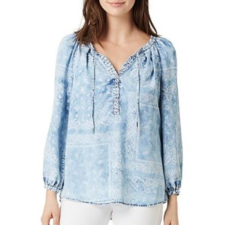 Vintage America Blues Womens X-Large Boho Lyocell Cermella Top, Blue Sky