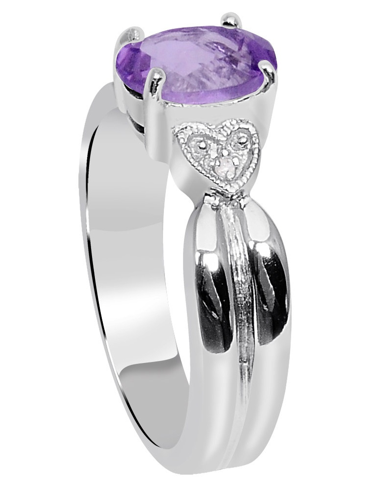 Details about  /Solid 925 Sterling Silver Ring for Men Purple Amethyst with Real Diamond Accents