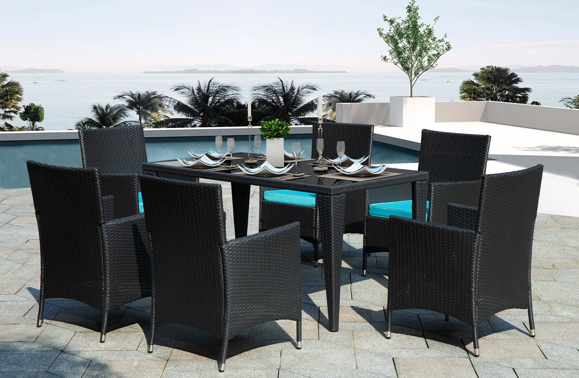 7 Piece Outdoor Dining Sets For 6 All Weathe Wicker Chairs With Glass Dining Table Rectangle Patio Sofa Furniture Set With Removable Cushions For Backyard Porch Garden Poolside L986 Walmart Com Walmart Com