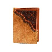 Nocona Western Wallet Mens Trifold Leather Hair Cross Tan N5414008