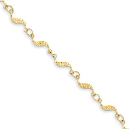 14k Yellow Gold 7.5in Diamond Cut Bracelet